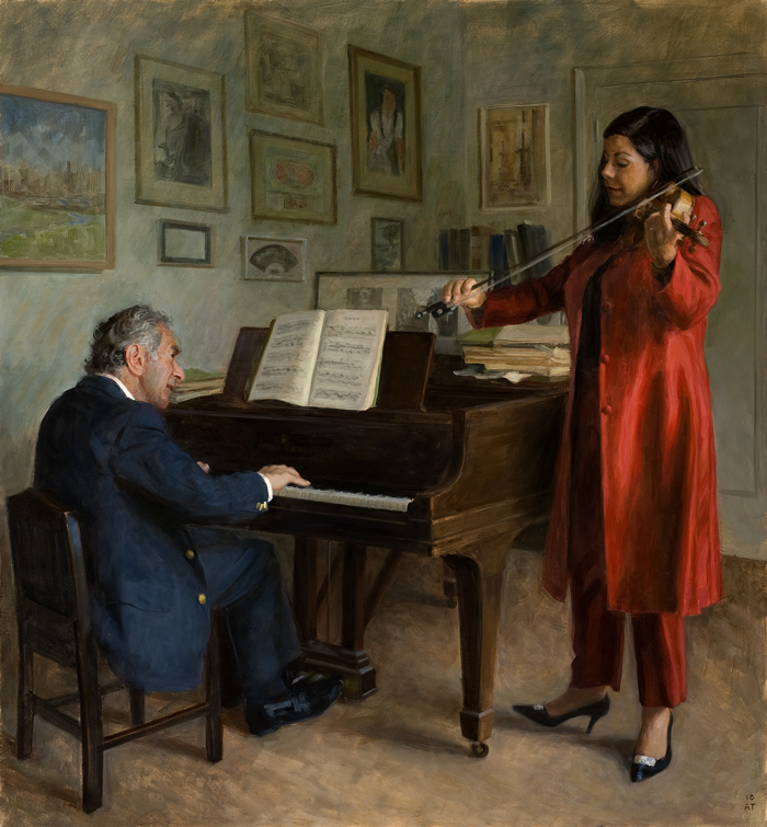 "The Franks Playing Mozart   , oil on linen, 52"" x 48"""