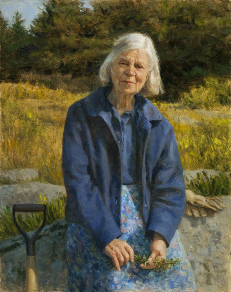"Harriet Pattison in Her Landscape   , oil on linen, 38"" x 30"""
