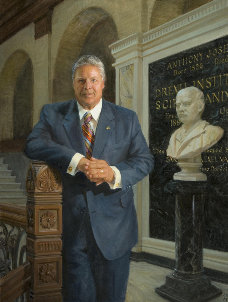 "Constantine Papadakis, President of Drexel University  , oil on linen, 54"" x 40""  Certificate of Excellence, Portrait Society of America, 2007: Collection Drexel University, Philadelphia, PA"