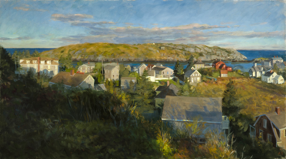 "Morning Sun Over Monhegan Village   , oil on linen, 26"" x 46"""
