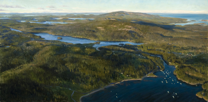 "Seal Cove Waterway   , oil on linen, 30"" x 60"""