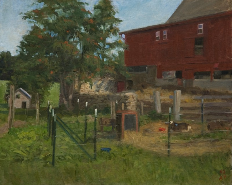 "Barnyard in Morning   , oil on canvas, 16"" x 20"""
