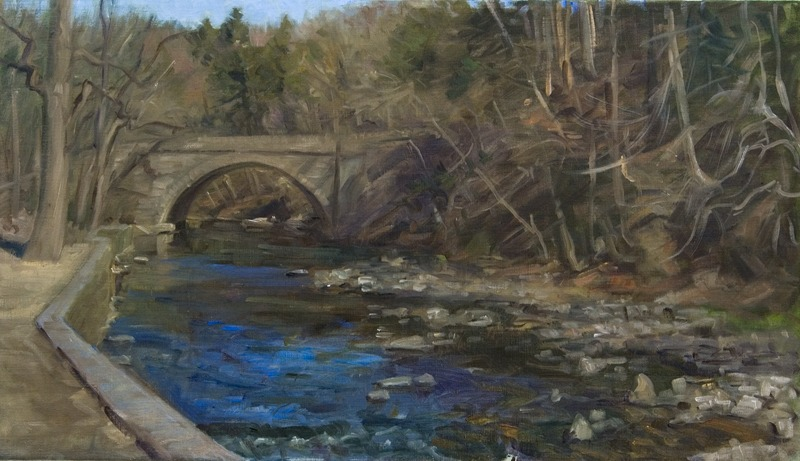 "Bridge at Valley Green   , oil on linen, 16"" x 28"""