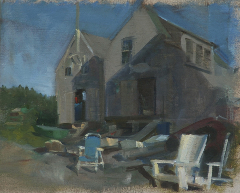 "Blue and White Chairs   , oil on linen, 9"" x 11"""