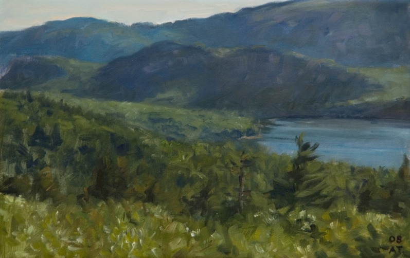 "Eagle Lake From Cadillac   , oil on linen, 11"" x 17"""