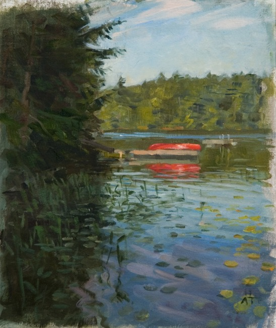 "Lake Edge in Shadow   , oil on linen on MDF board, 13"" x 11"""
