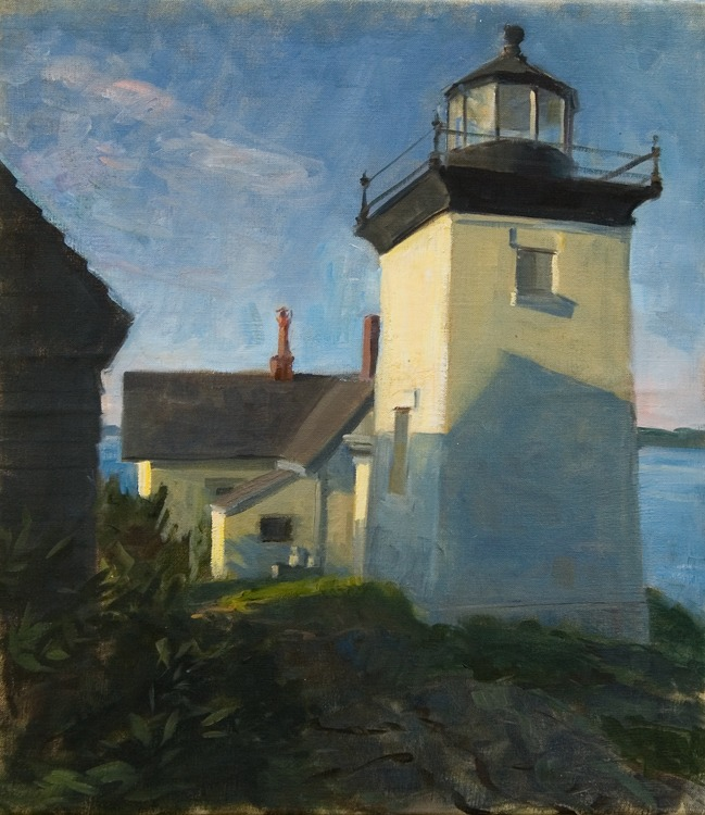 "Lighthouse Early Morning,    oil on linen, 14"" x 16"""