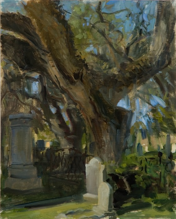 "Magnolia Cemetery II   , oil on sized canvas paper, 11.75"" x 9.4"""