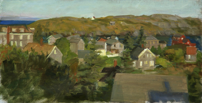 "Morning Sun on Monhegan Village   , oil on linen, 9"" x 18"""