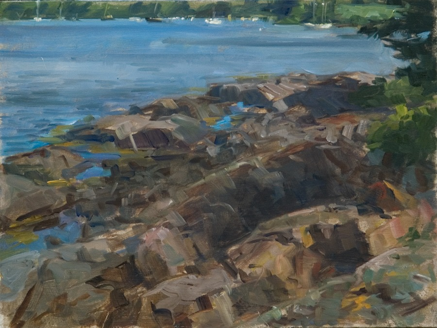 "Rocks, Indian Island I   , oil on board, 9"" x 12"""