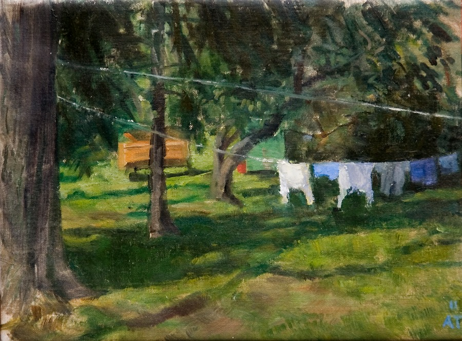 "Shirts and Shorts   , oil on linen, 9"" x 12"""