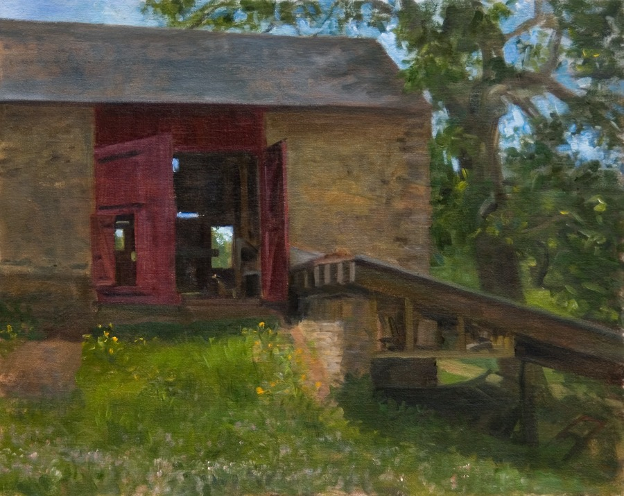 "Through the Barn, Fiorella Farm   , oil on linen, 16"" x 20"""