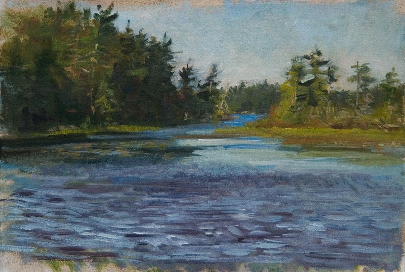 "Wind Gust Over the Ripples   , oil on linen, 12"" x 18"""