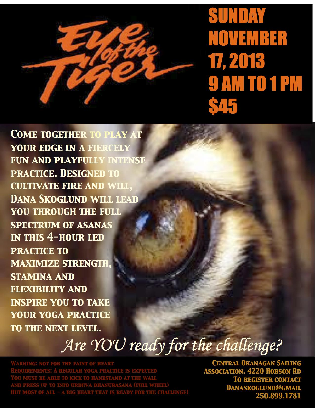 Eye of the Tiger Poster Nov 2013