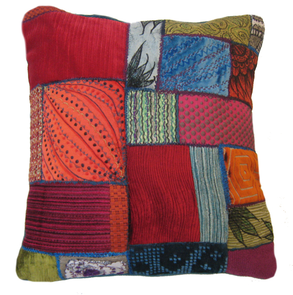 "Embellished Patchwork Pillow 18"" square Fabric, embroidery, fabric paint, fabric marker Sold to Private Collector"