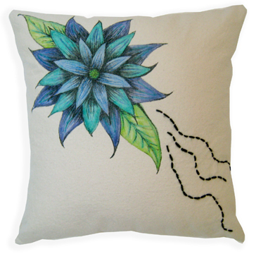 "Cool Bloom Pillow 18"" square Fabric, inktense pencils, fabric markers, embroidery Sold to Private Collector"