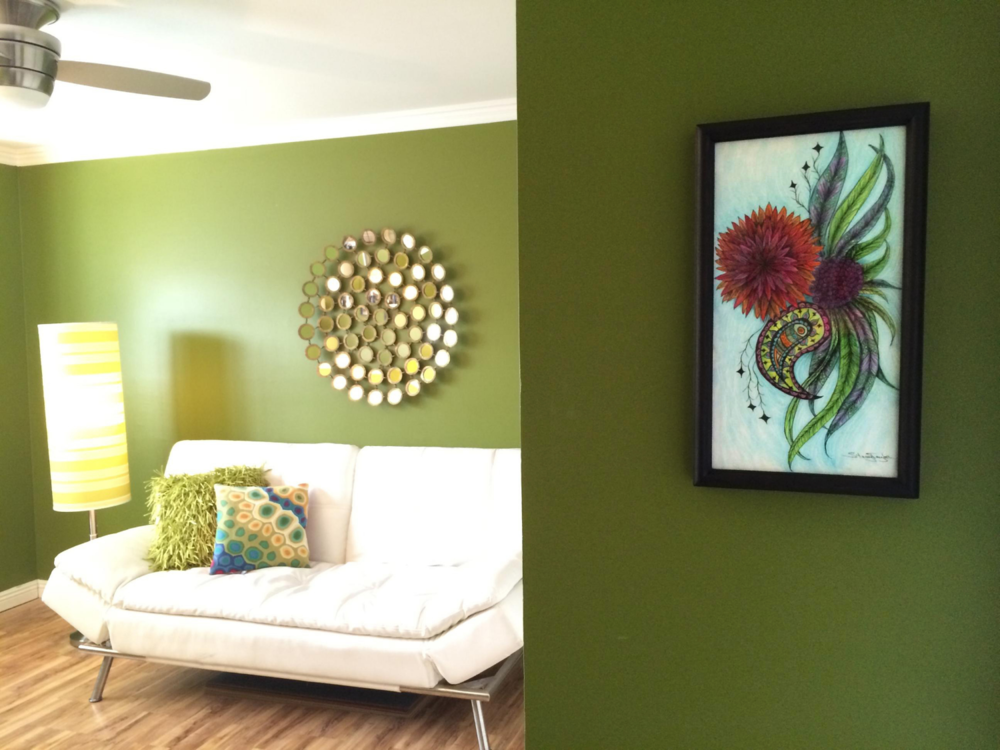 """Paisley Bloom"" wall art as featured in a client's home Art by Stacey Taylor of Effortlessly Eclectic Photo & styling by home owner"