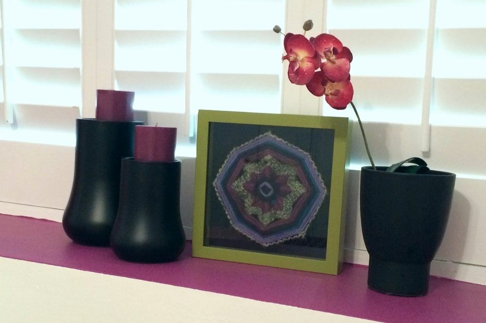 """Ojo de Dios of the Lavender Fields"" shadow box art as featured in a client's home Art by Stacey Taylor of Effortlessly Eclectic Photo & styling by home owner"