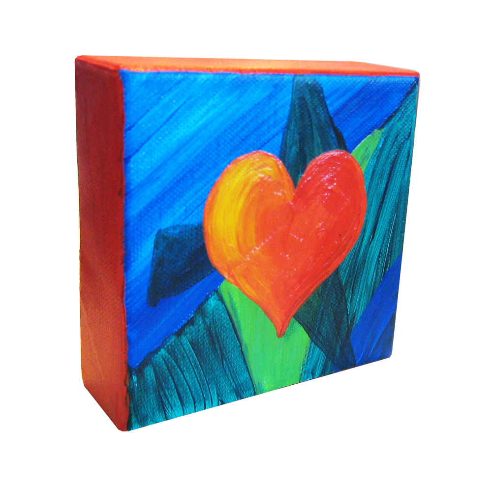 "Love - Colorful Geometry 1 of 3 4"" square Acrylic on canvas Commission piece for anniversary gift"