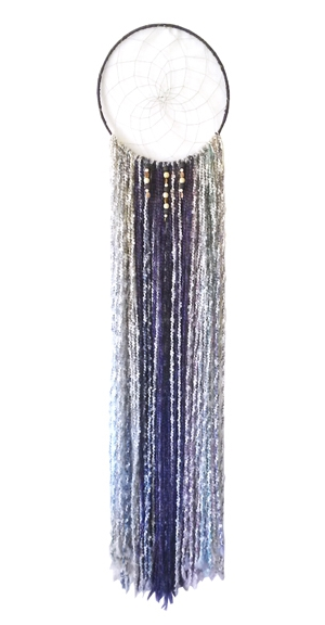 "Soft Whisper Dreamcatcher 14"" x 64"" Metal hoop, cord, yarn, beads Several of this style were made & sold to private collectors & were previously available through West Elm."