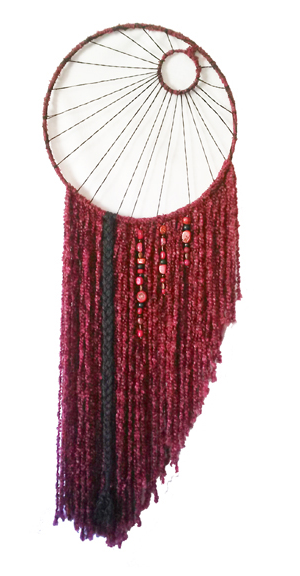 "Red Moon Dreamcatcher 19"" x 54"" Metal hoops, cord, yarn, beads Sold to Enchanted Forrest Reiki Center"