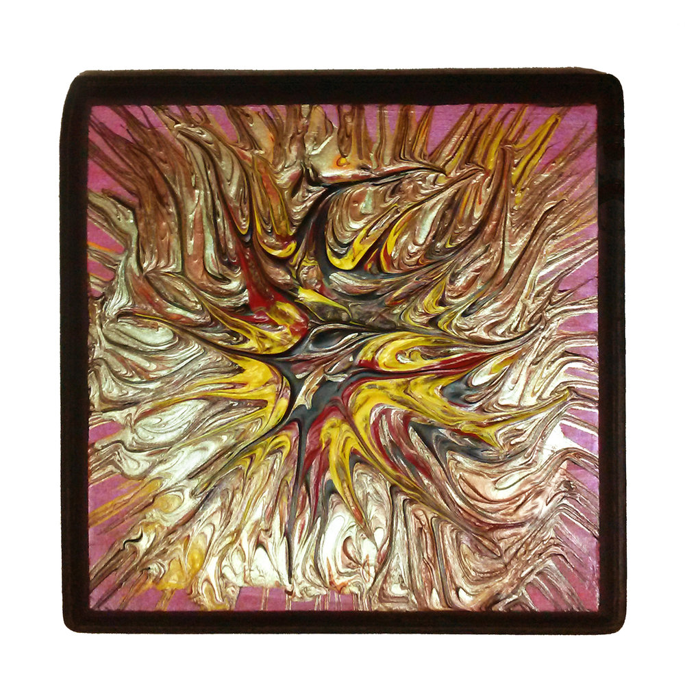 "The Phoenix 6.75"" square Acrylic on wood Sold to Private Collector"