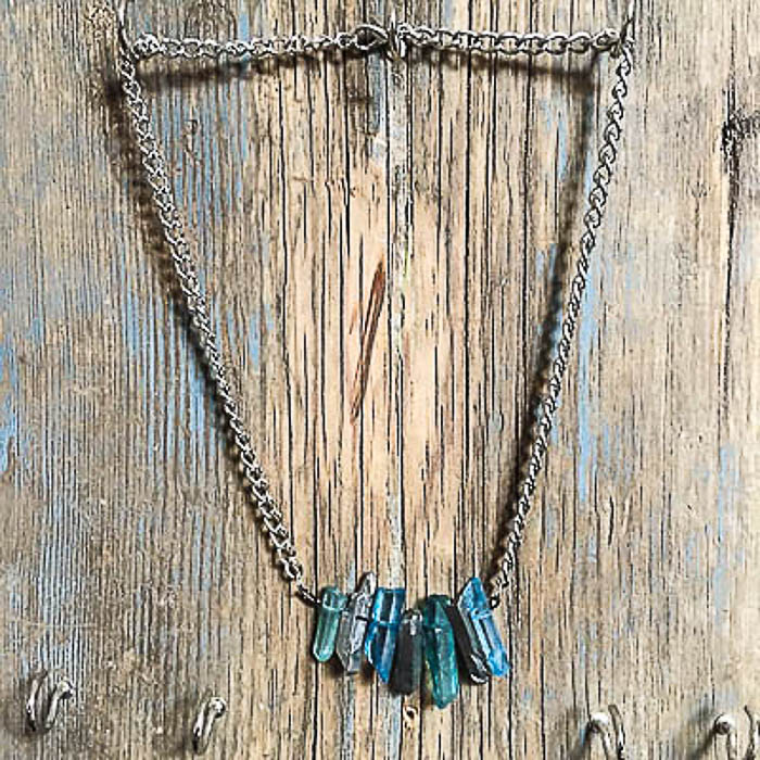 aqua and blue stone quartz necklace - The Odd Portrait