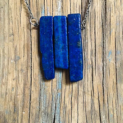 blue lapis stone necklace - The Odd Portrait