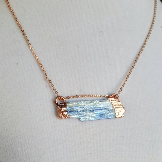 Blue kyanite blade necklace - rose gold and copper jewelry - Desert Daisy Jewelry