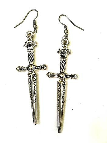 sword earrings - fairy tale fashion - The Odd Portrait