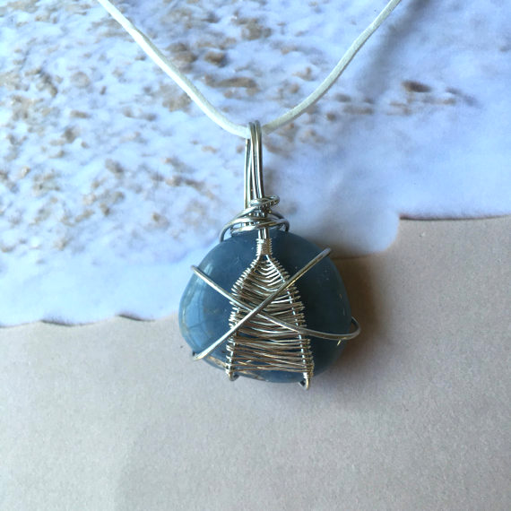 Handmade wire wrap jewelry necklace blue stone - Caitlin's Crystals