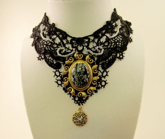 Black Lace Victorian Style Choker - Knight Rowen Designs