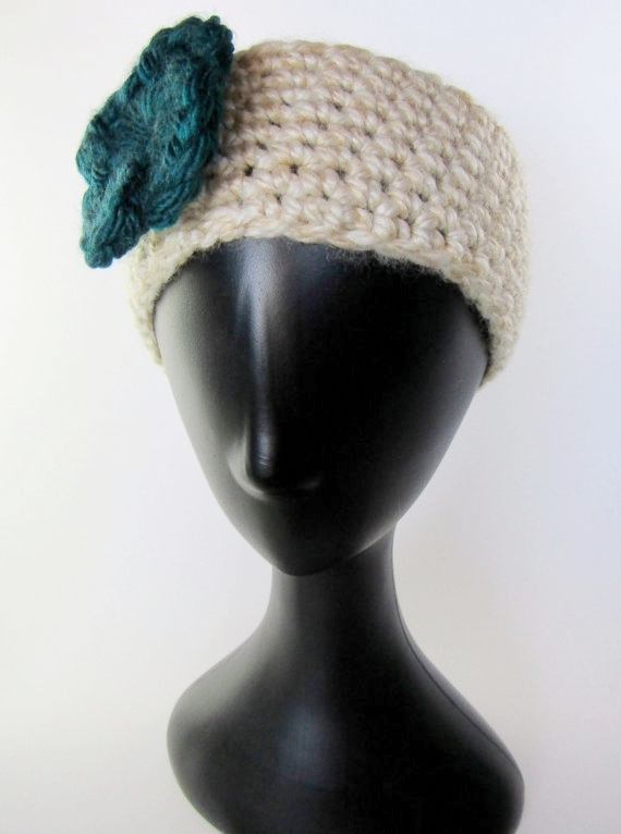 Knitted headband teal flower - Knight Rowen Designs