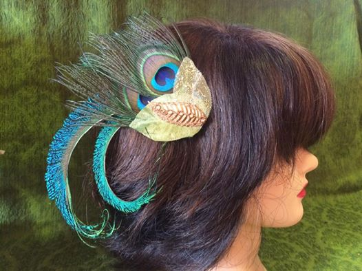 Hair flower - peacock feather - Super Natural Flowers