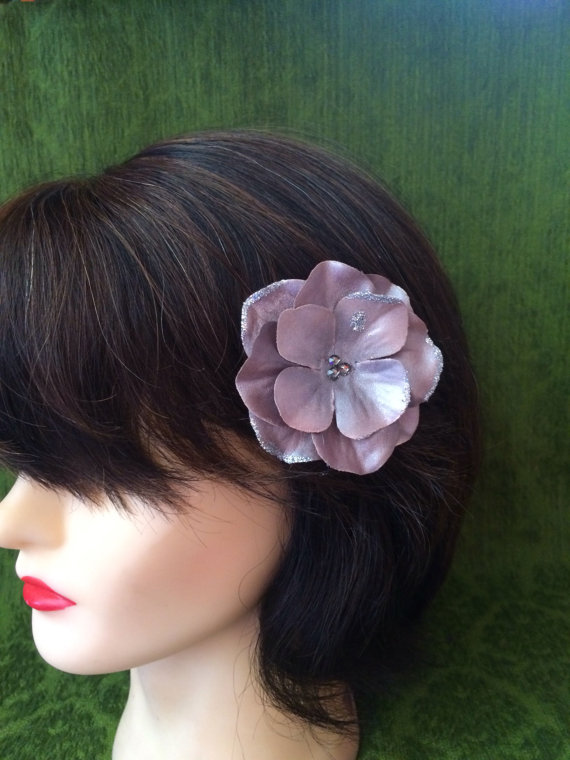 hydrangia hair clip - pewter sparkler - Super Natural Flowers