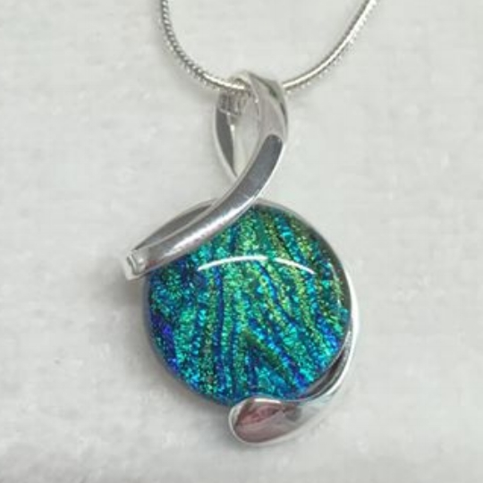 teal fused glass pendant