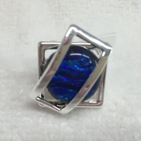 blue fused glass adjustable ring