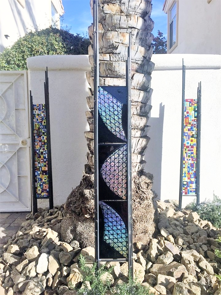 fused glass yard art