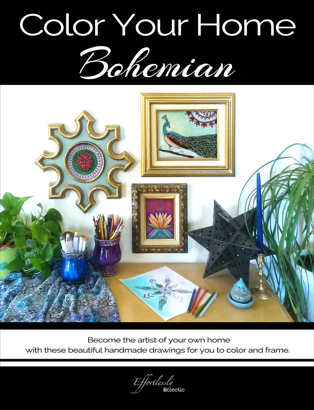 Adult coloring book / DIY home decor book Color Your Home Bohemian by Stacey Taylor of Effortlessly Eclectic