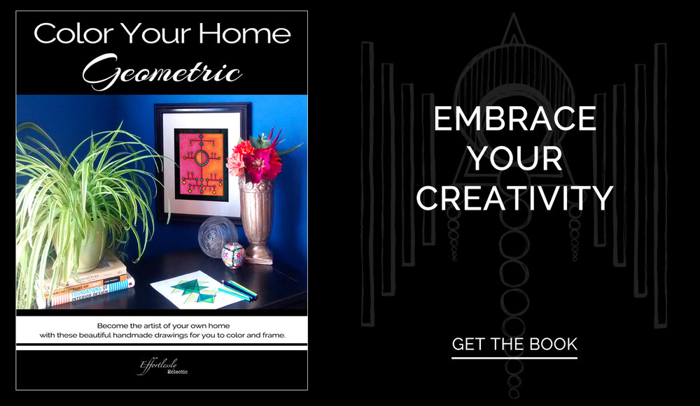 Adult coloring book / diy home decor book Color Your Home Geometric by Stacey Taylor of Effortlessly Eclectic
