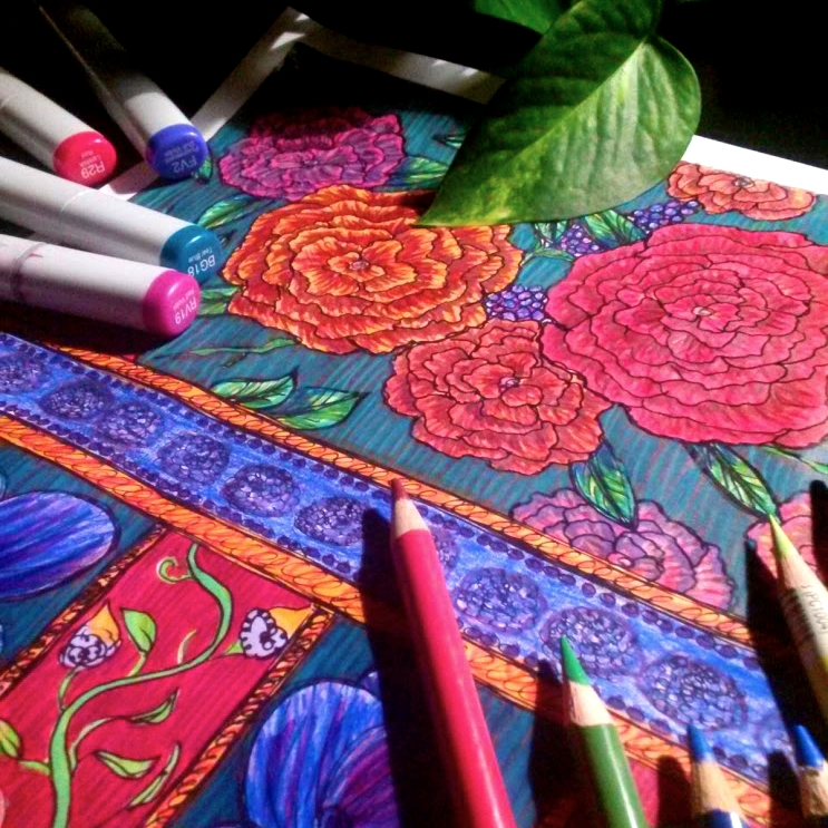 Adult coloring book - Bohemian home decor book Color Your Home Bohemian by Stacey Taylor of Effortlessly Eclectic - coloring floral patchwork drawing