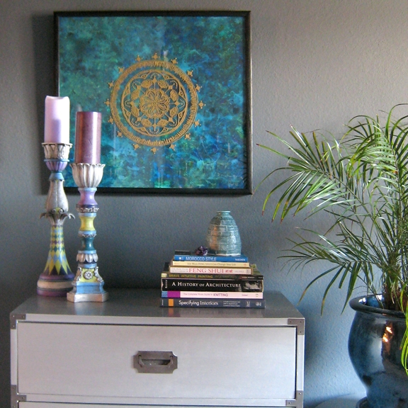 "Art & Styling by Stacey Taylor of Effortlessly Eclectic ""Water Lily Mandala"" wall art ""Blue Bottle"" pottery Painted Candlesticks by Stacey Taylor"