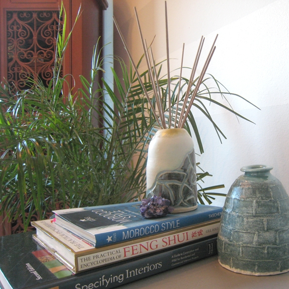 "Art & Styling by Stacey Taylor of Effortlessly Eclectic  ""Map Vase in Cream, Light Blue & Sage"" pottery  ""Blue Bottle"" pottery"