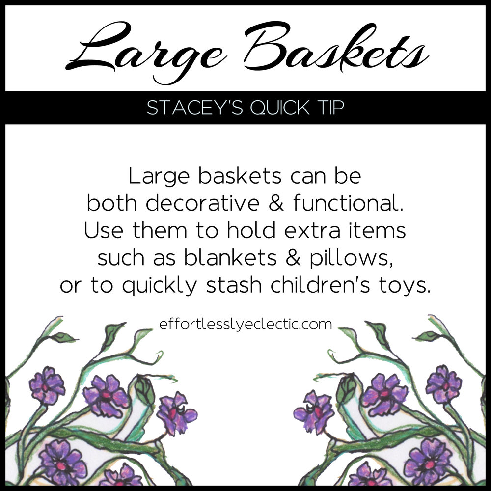 Large Baskets - A home styling tip about decorating with baskets