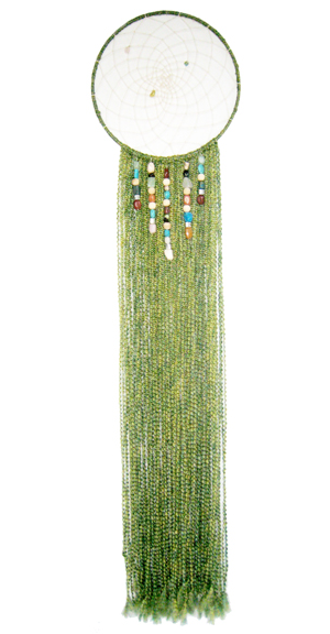 """Springtime Stroll Dreamcatcher 14"""" x 64"""" Metal hoop, cord, yarn, beads Sold to Private Collector"""