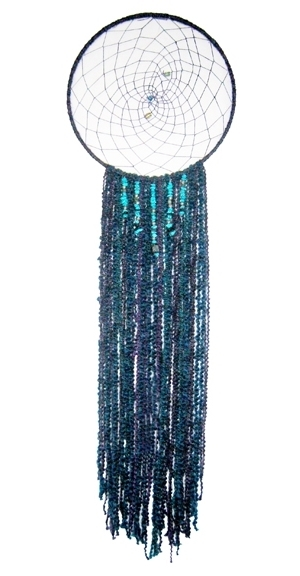 """Midnight Moon Dreamcatcher 14"""" x 52"""" Metal hoop, yarn, cord, & beads Sold to Private Collector"""