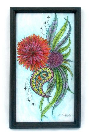 """Paisley Bloom 14"""" x 22"""" Art marker & pen on paper Sold to Private Collector"""