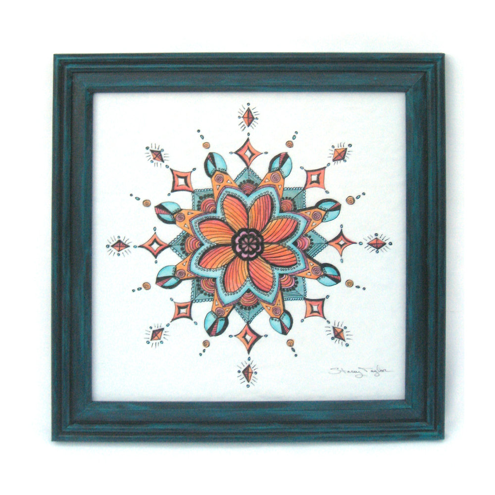 "Diamond Flower Mandala 12"" square Art marker & fine liner pen on paper Sold to private collector"
