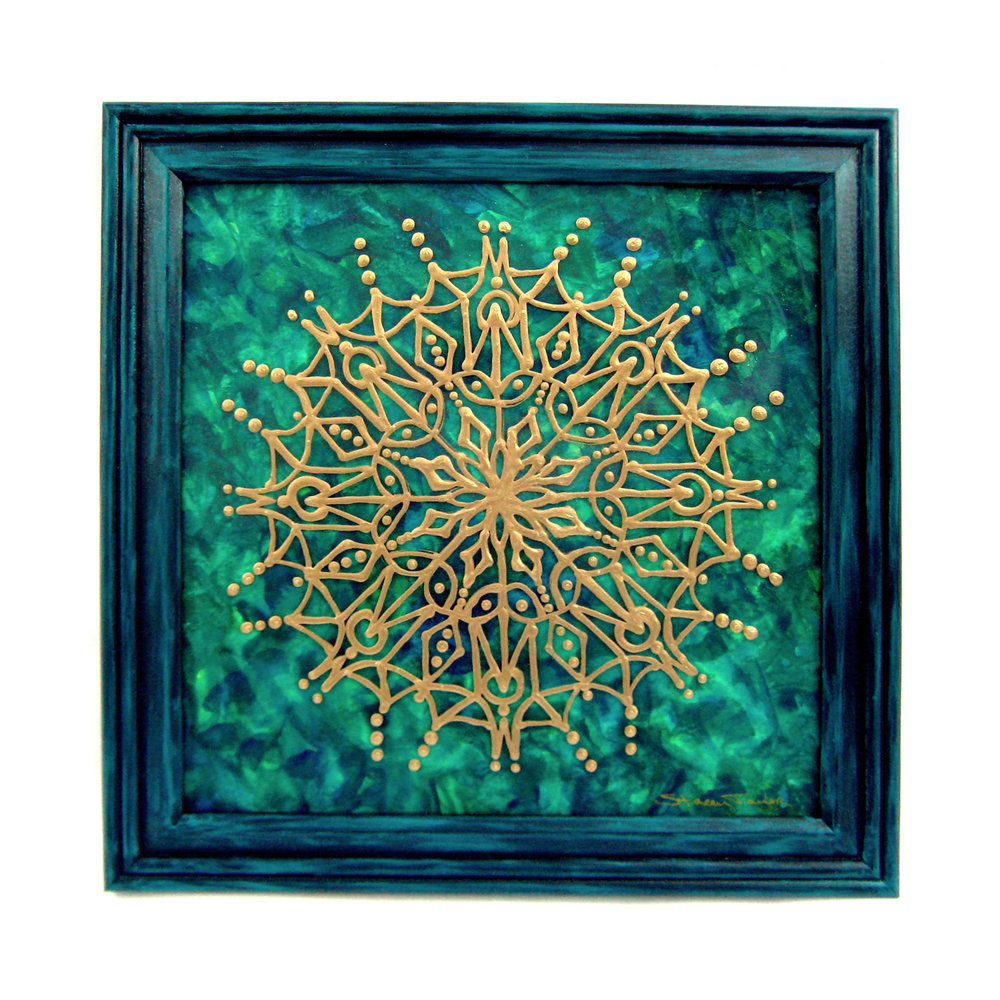 "Emerald City Mandala 12"" square Watercolor on paper, glass paint on glass Sold to private collector"