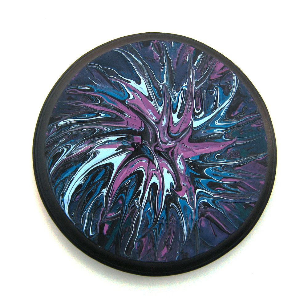 "Galaxy 6.5"" round Acrylic on wood Sold to private collector"